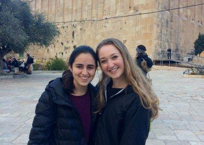 Yonina Keschner and Stephanie Rafael by Ma'arat HaMachpela in chevron (002)