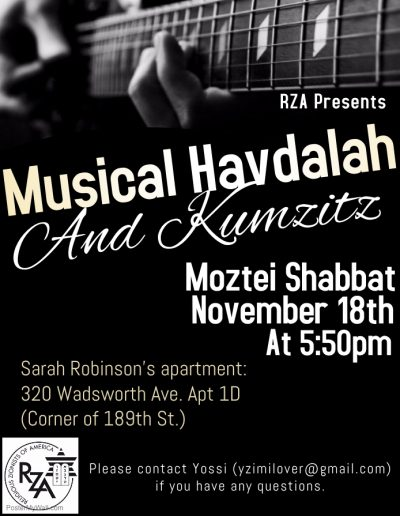 Musical Havdala and Kumsitz this week!